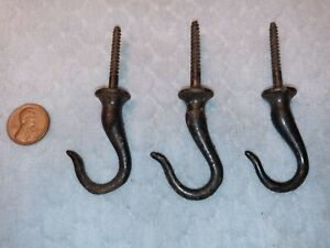 Small Ceiling Hooks Plant Primitive Cast Iron NOS