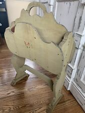 Vintage Wooden Painted Magazine Rack Stand Holder
