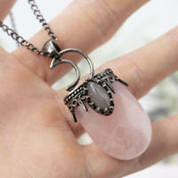 Rose Quartz Labradorite Stone Moon Pendant bead Energy Reiki Healing Amulet 1Pc