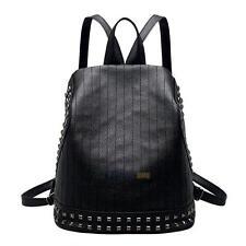 Womens Backpack Leather School Book Bags Shoulder Travel Rivet Rucksack Satchel