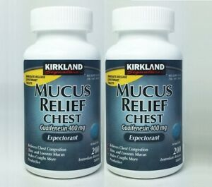 Kirkland Mucus Relief Chest Guaifenesin 400mg Expectorant 200 Tablets.x 2
