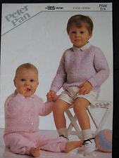 """Peter Pan Knitting Pattern: Baby Sweater & Cardigan, DK, 16-24"""", P528"""