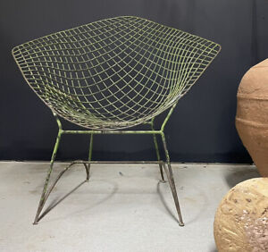 Bertoia Diamond Fauteuil Ancien Vintage Design Chaise de Salon de Jardin Patine