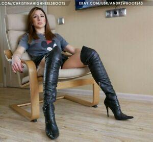 GIANMARCO LORENZI EU37 US7 pointed toe stiletto high heels over knee boots VIDEO
