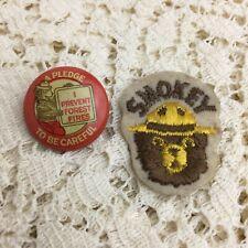 Vintage 40s Smokey the Bear Pin Pledge Badge Tin Lithograph Pinback Ranger Patch