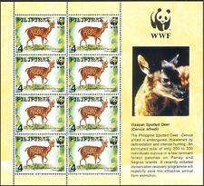 Philippines 1997 WWF/Deer/Animals/Nature/Wildlife/Conservation 8v sht (b7224)