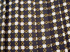 Vtg 80S Black White Gold Chains Pleated Geometric Print Career Skirt Women S Xs