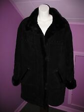 Women's Gallery Suede Leather Coat with Faux Fur Lining Sz Large Mint