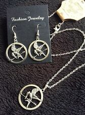 * 2pc set * hunger games style boucles d'oreilles + collier argent mockingjay ** uk **