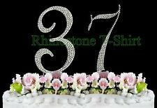 Large Rhinestone NUMBER (37) Cake Topper 37th Birthday Wedding Party Anniversary