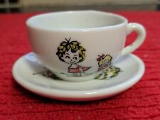 Vintage miniature tea cup set girl w/red striped top pulling doll in wagon Japan