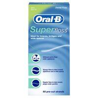 Oral-B Super Floss Pre-Cut Strands Dental Floss Mint Flavor 50 Ct (Pack of 6)