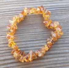 NATURAL CITRINE STONE GEMSTONE STRETCHY CHIP BRACELET