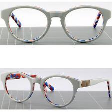 Round Womens Mens Acetate Frame Spring Loaded Plastic Prescription Glasses White