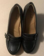 Soft Shoe By Medicus Womens Black Leather Shoes Slip On Pump Heels Size 7M
