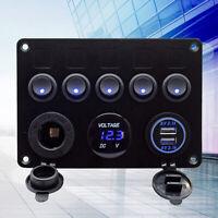 5 Gang Blue LED Rocker Switch Panel Circuit Breaker Waterproof Car Marine Boat