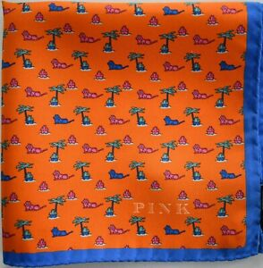 $75 New THOMAS PINK LION Print 100% SILK Pocket Square Handkerchief