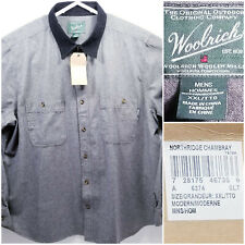 NWT Woolrich Mens 2XL XXL Shirt Long Sleeve Button Up Gray 100% Cotton