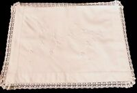 VINTAGE HAND EMBROIDERED WHITE COTTON LACE NIGHTDRESS CASE CUSHION COVER