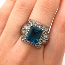 925 Sterling Silver Real London Blue Topaz Gemstone Swirl Ornate Ring Size 7 1/4