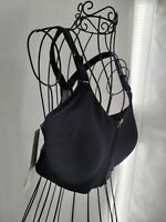 All In Motion Womens Black High Support Zip Front Crossback Sports Bra Size 34D