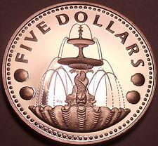 Cameo Silver Proof Barbados 1975 5 Dollars~Shell Fountain in Trafalgar Square~FS