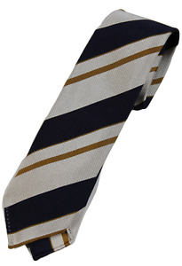 NWT - Drake's – Navy, Off-White & Mustard Repp Stripe Silk Tie, Made in England