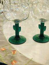 Margarita Glass Glasses Set of 2 Cactus Libby Green Stem Glassware 3619 Js