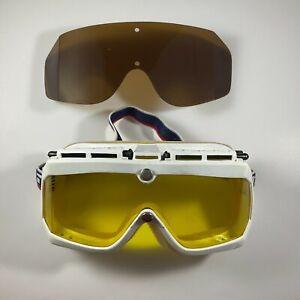 CEBE Vintage Ski Goggles Yellow Lens Red White Blue Band with bonus Lens FRANCE
