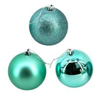 Turquoise Baubles Bulk Pack Christmas Decoration Assorted Shiny Matt Glitter 6cm