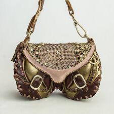 BRACHER EMDEN ❊ OFF 70% ❊ Swarovski Crystals Leather Bag ❊ Brown Bronze Pink