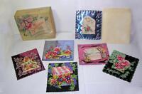 BOX VTG EMBOSSED FOIL, DIE CUTS GREETING CARDS, SPARKLETTES, 6 UNUSED CARDS