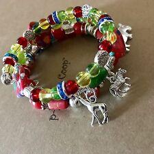 Zoo Safari Bracelet Painted Calsilica Cuff Bangle Memory Wire Handmade USA 1096