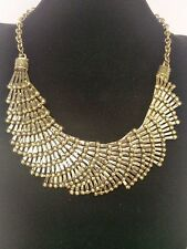 Fashion Vintage Gold Plated Hollow Fan Shape Design Chain Pendant Necklace