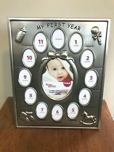 Baby's first year milestones silver baby picture frame/ photo frame 13 pictures