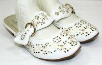 MIDNIGHT VELVET womens slip on mule dress shoe 1 in wedge size 6 wide white NEW