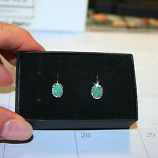Natural Emerald Gems Diamond Leverback Drop Earrings 14k Yellow Gold over Base