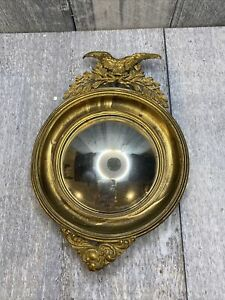 old early brass convex mirror small eagle 6 in hang miniature