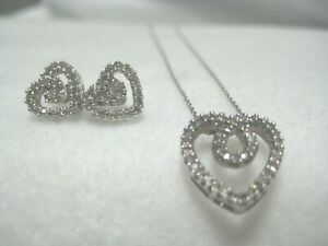 10K White Gold  3-Piece Set Natural Diamond Heart Earrings & Necklace