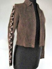 Charlotte Russe Brown Suede Jacket Sz. Small with  Pink Ribbon Laced Sleeves