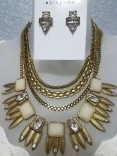 SILPADA Good As Gold Swarovski Crystal Convertible Necklace & Earrings Set New