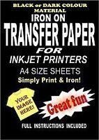 Inkjet Printable Iron On T Shirt  Fabric Transfer Paper For Dark Fabrics 5 A4 S