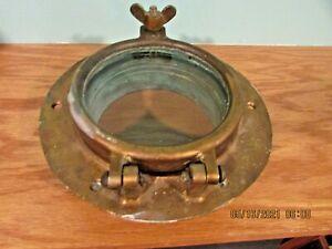 "Vintage Used Bronze Porthole Window.  8 1/2""    A lot of Green Patina"