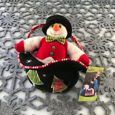 "Douglas Cuddle Toy 7"" Top Hat Mr Snowman Sassy Sak Holiday Plush Christmas Purse"