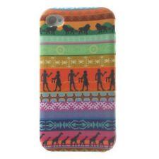 TPU-Case Hülle Apple iPhone 4S / 4 Streifen Stoff Case Cover Schale bunt Afrika