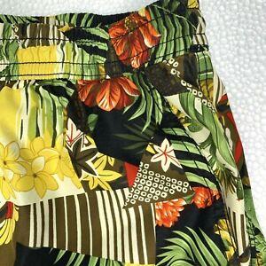 M Tommy Bahama Swim Trunks Tropical Floral Mesh Liner Brown Gold Orange Green