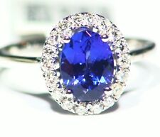 1.92CT 14K Gold Natural Tanzanite Diamond Vintage AAAA Wedding Engagement Ring