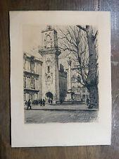Gravure JOANNY DREVET Aix-en-Provence 1932 Tour de l'Horloge