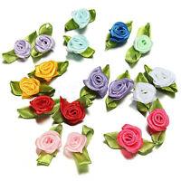 200pcs Mix Exquisite Satin Rose Flower Ribbon Sewing Wedding Appliques Deco V5U2