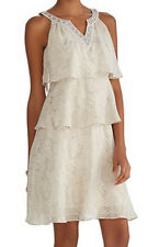 NWT White House Black Market Sleeveless Print Ruffle Tier Shift Dress 6